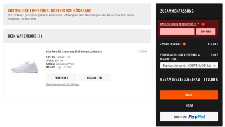 Nike aktionscode österreich
